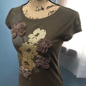 INC Gold Embellished Floral Short Sleeve T-shirt